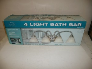 FOUR LIGHT BATH BAR LIGHT FIXTURE PEWTER