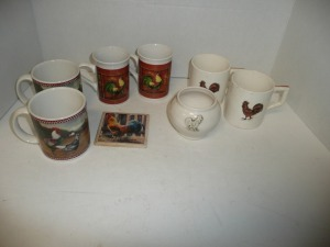 LOT OF MUGS WITH ROOSTER MOTIF