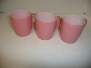 LOT OF 3 VINTAGE PINK COFFEE CUPS
