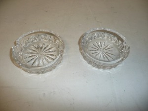 PAIR OF ROGASKA CRYSTAL ASHTRAYS