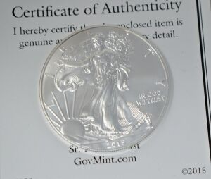 2015 SILVER EAGLE .999 1OZ. FINE  SILVER DOLLAR WALKING LIBERTY