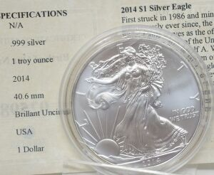 2014 SILVER EAGLE .999 1OZ. FINE SILVER WALKING LIBERTY DOLLAR
