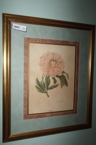 FRAMED AND MATTED FORMAL FLORAL ART PRINT - LR