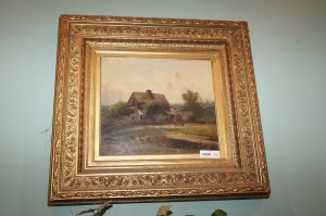 OLD ORNATELY FRAMED PAINTING, FARMHOUSE - LR