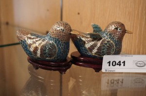 HANDMADE ART GLASS BIRD FIGURINES WITH STANDS - LR