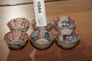 OLD ORNATE HAND DECORATED FINE PORCELAIN SAKE CUPS, MADE IN JAPAN - LR
