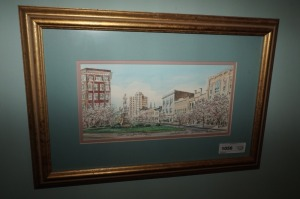 FRAMED, MATTED, DOUBLE SIGNED, AND NUMBERED ART PRINT, DOWNTOWN MACON, BARCLAY BURNS - LR