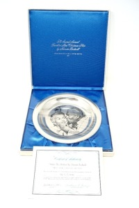 SOLID STERLING SILVER FACTORY SEALED 1971 THE FRANKLIN MINT NORMAN ROCKWELL CHRISTMAS COLLECTOR PLATE, UNDER THE MISTLETOE, APPROX. 6 OZ WEIGHT - LR