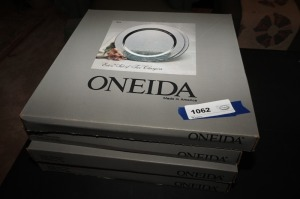 EIGHT ONEIDA SILVER PLATED CHARGERS IN ORIGINAL BOXES - LR