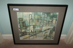 FRAMED, MATTED, AND SIGNED MODERN ART, CITY STREET SCENE - HALL
