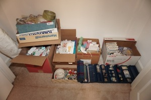 ALL ITEMS ON BR1 CLOSET FLOOR INCLUDING FABRIC, CRAFT SUPPLIES, SEWING SUPPLIES, SEWING PATTERNS, AND MORE - BR1