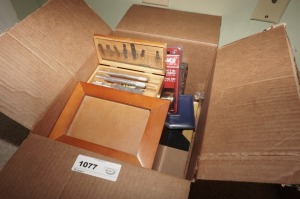 BOX LOT INCLUDING VINTAGE EXACTO KNIFE SET IN ORIGINAL WOODEN BOX, PHOTO BOX, PHOTO FRAMES, AND MORE - BR1