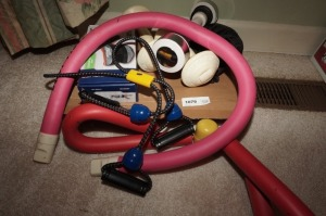 EXERCISE EQUIPMENT INCLUDING THIGH MASTER, ANKLE WEIGHTS, DUMBBELLS, AND MORE - BR1