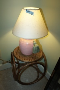VINTAGE CANE TOP RATTAN END TABLE AND TABLE LAMP - BR1
