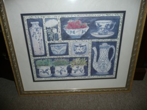 LARGE FRAMED PRINT OF BLUE AND WHITE PORCELAIN