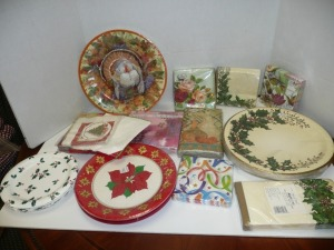 LOT OF HOLIDAY NAPKINS AND PLATES