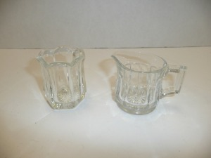 VINTAGE HEISEY CREAMER AND SUGAR BOWL