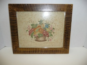 VINTAGE FRAMED COUNTRY FLOWER BASKET PRINT
