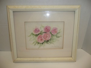 VINTAGE FRAMED WATERCOLOR OF ROSES SIGNED