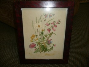 VINTAGE FRAMED FLORAL ARTWORK