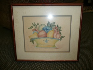VINTAGE FRAMED FRUIT ARTWORK BY C.BUTLER 1980