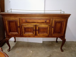 VERY NICE ALEXANDRIA JULIAN FORMAL SIDEBOARD, DOES HAVE LOTS OF UNDERNEATH STORAGE, DOES HAVE SIMILAR FOOTED LEGS AS THE FORMAL DINING TABLE BUT IS NOT AN EXACT MATCH