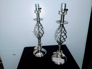 SET OF TWO ORNATE THEMED TABLE LAMPS, found lamp shades pictures coming