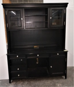 VERY NICE CABINET AND HUTCH COMBO, DOES HAVE LOTS OF STORAGE UPPER AND LOWER, DOES HAVE POWER STRIP MOUNTED, ALSO CAN BE USED FOR DESK THE CENTER DRAWER IS DESIGNED FOR KEYBOARD SEE PICTURE