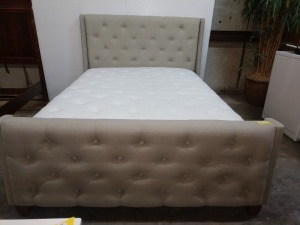 VERY UNIQUE FULL SIZE BED, HEADBOARD FOOTBOARD AND RAILS ARE PADDED, THE SIERRA MATTRESS IS INCLUDED IF THE BUYER WANTS IT