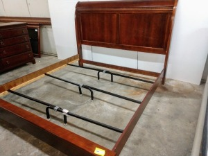 VERY NICE VAUGHN BASSETT BRAND KING SIZE BED FRAME, INCLUDES HEADBOARD FOOTBOARD SIDE RAILS AND METAL CROSS MEMBERS