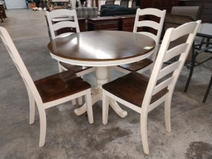 BEAUTIFUL BREAKFAST TABLE, 42-IN ROUND, COMES WITH FOUR CHAIRS, IS IN THE VERY POPULAR MODERN FARMHOUSE LOOK, DOES MATCH LOT 1025