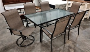 ALUMINUM FRAME OUTDOOR FURNITURE, MEASURES 62-IN X 36-IN, COMES WITH SIX CHAIRS, TWO OF THEM SWIVEL