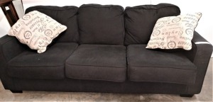 ASHLEY BRAND 7-FT SOFA WITH THROW PILLOWS, matches lot 1036