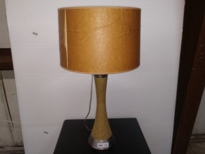 UNIQUE TABLE LAMP, WRAPPED IN BURLAP MATERIAL, LAMP SHADE HAS SOME DAMAGE SEE PICTURE