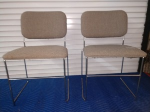 SET OF TWO METAL/CHROME FRAME WITH PADDED SEATS CHAIRS
