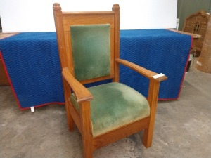 SOLID WOOD ALTAR CHAIR, WITH PADDED SEAT AND BACKREST