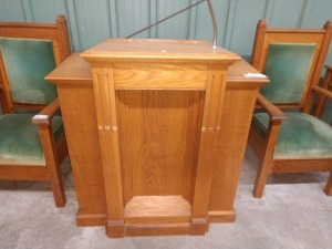 SOLID WOOD CHURCH PODIUM, MEASURES 41-IN X 22-IN X 44-IN TALL, HAS MICROPHONE MOUNT