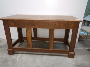 ALTER/COMMUNION TABLE, SOLID WOOD, MEASURES 43-IN X 24-IN X 30-IN TALL, HAS SOME SCRATCHES SEE PICTURES