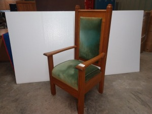 ALTER CHAIR, MEASURES 27-IN X 24-IN X 51-IN TALL BACK, HAS PADDED SEAT CUSHION AND BACKREST