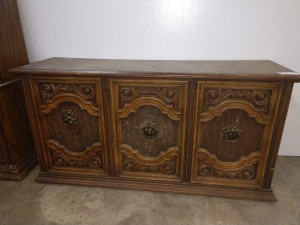 RETRO CIRCA '70S CABINET, HAS TWO DOORS, AND ORNATE MARKINGS AND HANDLES, MEASURES 18-IN X 60-IN X 30-IN TALL