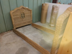 SINGLE SIZE BED, WICKER WOVEN, DOES NEED SOME REPAIR, SEE PICTURES