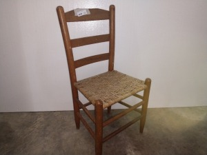 LADDER BACK CHAIR WITH WOVEN SEAT