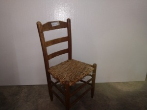 LADDER BACK CHAIR WITH WOVEN SEAT, needs repair