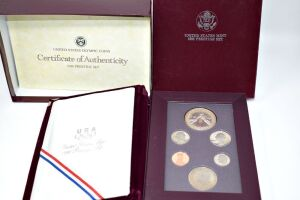 1988 SILVER PROOF OLYMPIC SILVER DOLLAR PRESTIGE SET IN BOX