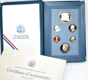 1987 SILVER PROOF CONSTITUTION SILVER DOLLAR PRESTIGE SET IN BOX