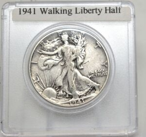 1941 SILVER WALKING LIBERTY HALF DOLLAR IN CAPSULE