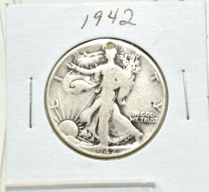 1942 SILVER WALKING LIBERTY HALF DOLLAR WITH DRILLED HOLE