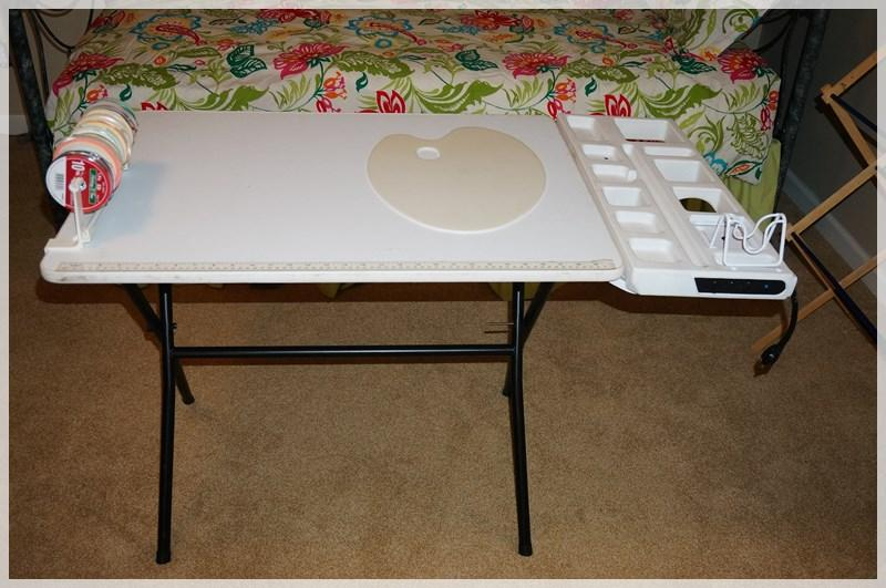 Lot 3174 Of 445: FOLDING CRAFT TABLE WITH POWERED OUTLETS U0026 FOLDING BLACK  CHAIR   MBR