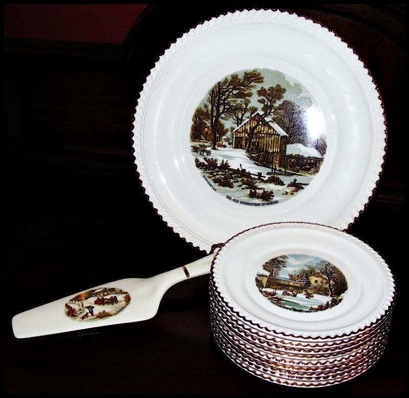 Vintage Harkerware Currier And Ives Cake Plate, Cake Knife and ...