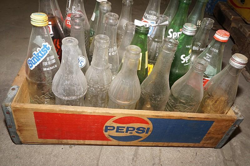 Old Pepsi Drink Crate With Antique And Vintage Bottles Including